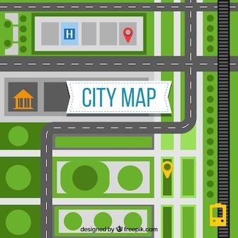Plan miasta z dróg i terenów zielonych