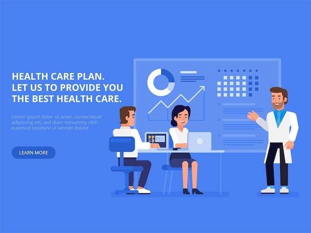 Plan opieki zdrowotnej. profesjonalny zespół medyczny w sali posiedzeń zarządu w biurze. nowoczesna płaska ilustracja do projektowania stron internetowych, marketingu i materiałów do druku.