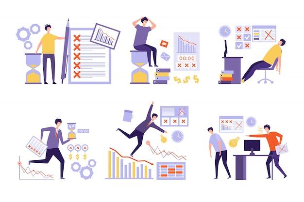 Plan się nie udaje. nad wieloma zadaniami złe zarządzanie niezorganizowanymi ludźmi biznesu koncepcja nadgodzin harmonogramu pracy