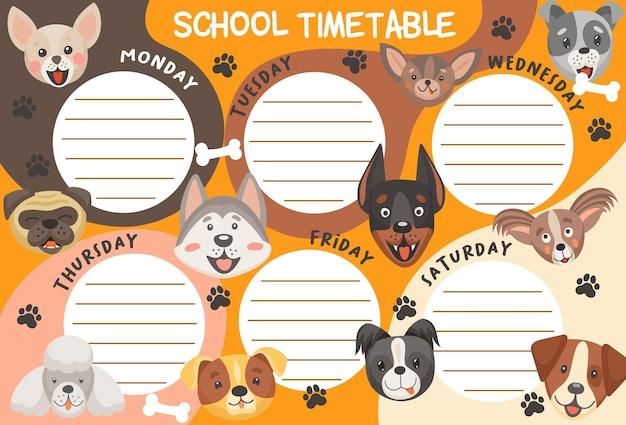 Plan zajęć szkolnych psów i szczeniąt. szablon planowania tygodniowego edukacji z uroczymi postaciami z kreskówek. plan lekcji dla dzieci z ramkami do listy zajęć i zabawnymi psimi kagańcami
