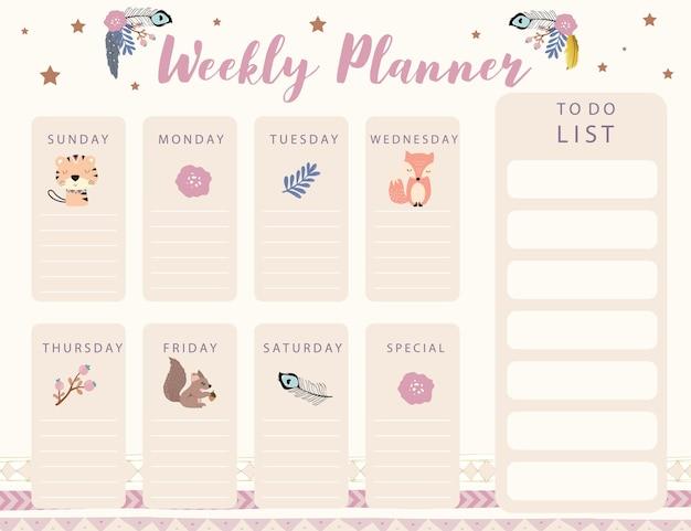 Planer kalendarza leśnego z kwiatem lisich piór