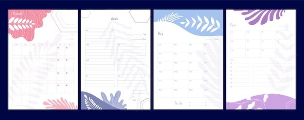 Planer tygodniowy. organizator i harmonogram z notatkami, planistami i listą zadań, listy kontrolne agendy kalendarza wydarzeń biurowych szablon wektora