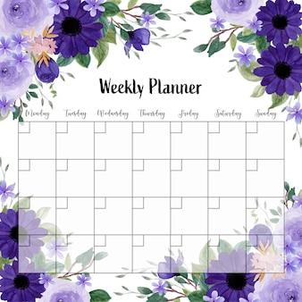 Planer Tygodniowy Z Fioletową Akwarelą Kwiatowy Premium Wektorów