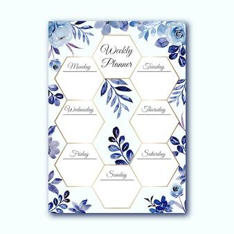Planer tygodniowy z niebieską akwarelą w kwiaty