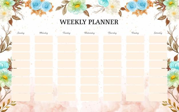 Planer tygodniowy z tłem jesiennych kwiatów