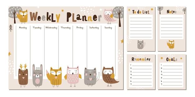 Planer tygodniowy z uroczymi leśnymi zwierzętami