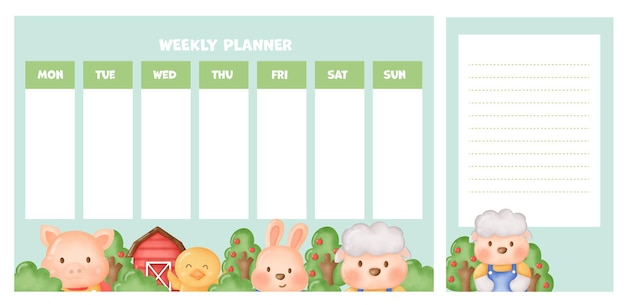 Planer tygodniowy z uroczymi zwierzętami hodowlanymi.
