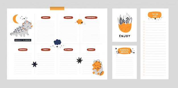 Planer tygodniowy ze słodkim dino, szablonem listy życzeń, listą rzeczy do zrobienia. organizator