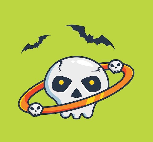 Planeta czaszki z pierścieniem kreskówka koncepcja imprezy halloween na białym tle ilustracja płaski styl