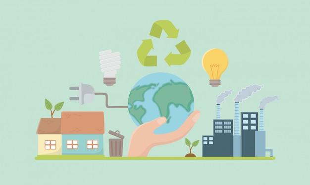 Planeta i oszczędzaj elementy scenografii energetycznej