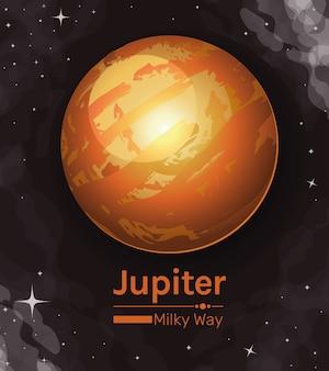 Planeta jowisz droga mleczna ikona stylu kosmosu futurystycznego i kosmicznego tematu
