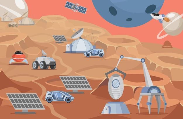 Planeta kolonizacji wektor ilustracja płaska łaziki marsowe panele słoneczne rakiety