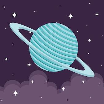 Planeta kosmiczna na tle gwiaździstym o tematyce futurystycznej i kosmicznej