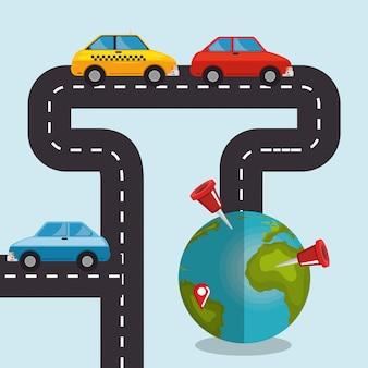 Planeta światowa z ikonami nawigacji gps