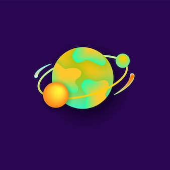 Planeta w przestrzeni dla płaskiego projektu astronomii wszechświata.