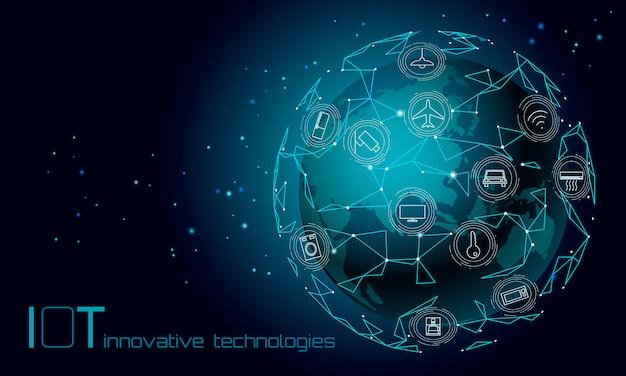 Planeta ziemia azja kontynent internet rzeczy ikona innowacja koncepcja technologii. bezprzewodowa sieć komunikacyjna iot ict. inteligentnego systemu automatyzacji ai nowożytna komputerowa online wektorowa ilustracja