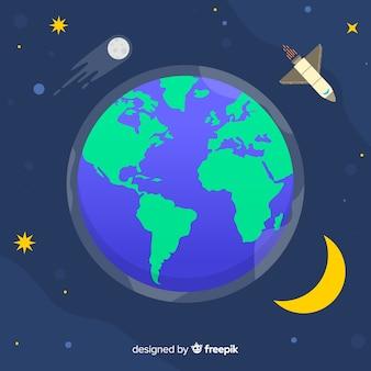 Planeta ziemia projekt w stylu płaski