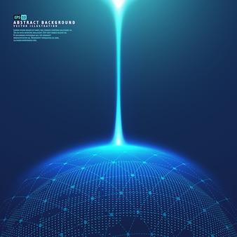 Planeta ziemia przestrzeń globu z niebieskimi promieniami