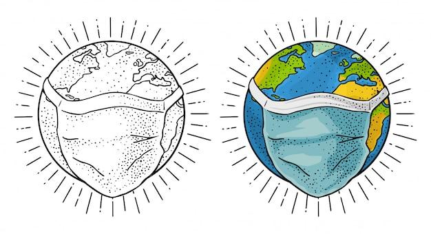 Planeta ziemia w niebieskiej maski medyczne twarzy. grawerowanie vintage