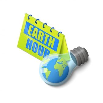 Planeta ziemia w żarówce w pobliżu kolorowe kalendarz godziny ziemi napis izometryczny na białym tle