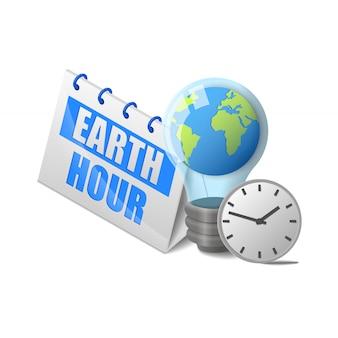 Planeta ziemia w żarówki i zegar w pobliżu kalendarza godziny ziemi napis izometryczny na białym tle