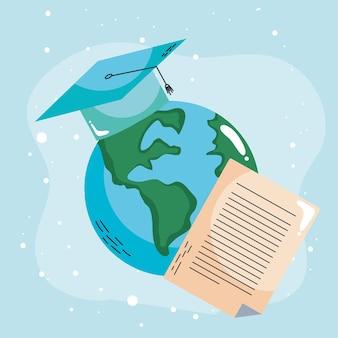 Planeta ziemia z kapeluszem ukończenia szkoły