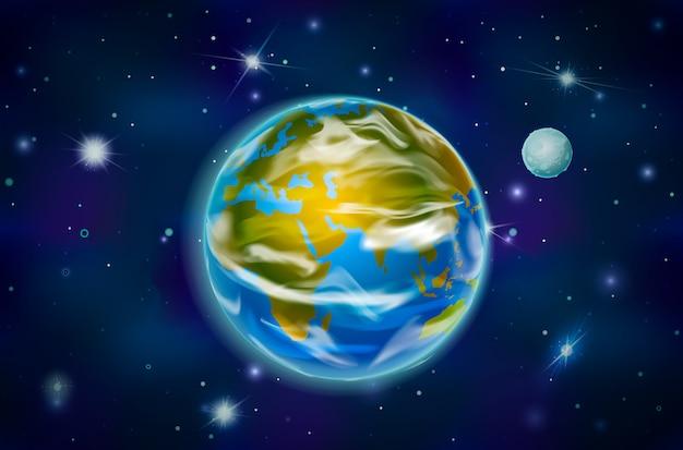 Planeta ziemia z księżycem na tle kosmosu z jasnymi gwiazdami i konstelacjami