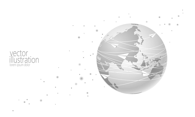 Planeta ziemia z papierowy samolot wiadomości listów tło