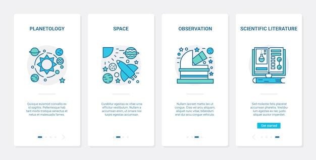Planetology space research naukowy ux, zestaw ekranów strony aplikacji mobilnej ui onboarding
