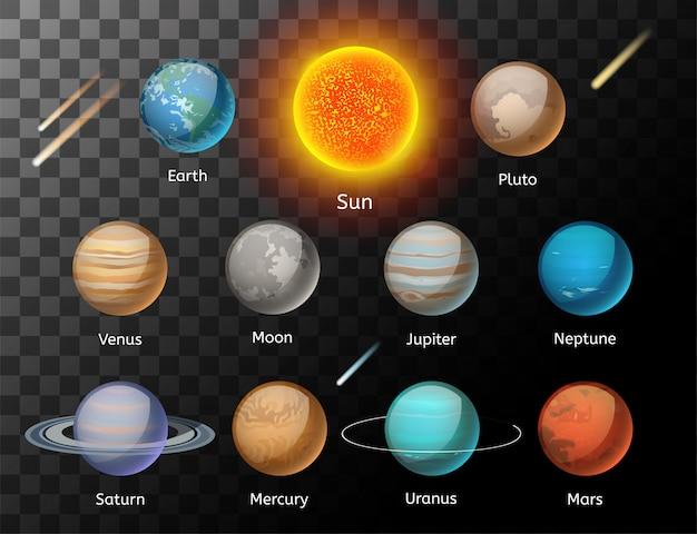 Planety kolorowy wektor zestaw