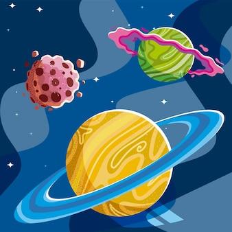 Planety kosmiczne galaktyka pierścień asteroida gwiazdy tekstury ilustracja
