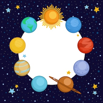 Planety układu słonecznego z okrągłym miejscem na tekst