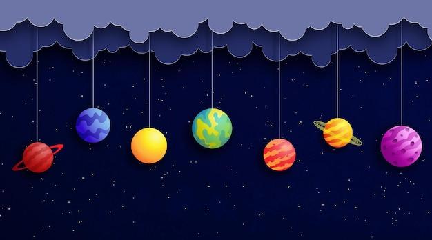 Planety wiszące na sznurkach na tle gwiaździstej przestrzeni. ilustracja wektorowa w stylu cięcia papieru.