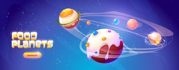 Planety żywności baner kosmicznej gry zręcznościowej planety fantasy