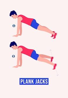 Plank jacks ćwiczenie mężczyźni ćwiczą fitness aerobik i ćwiczenia