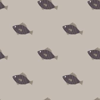 Plankton wzór z ornamentem sylwetki małej ryby.