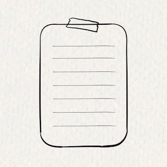 Planner naklejki wektor element arkusza papieru w stylu wyciągnąć rękę na tekstury papieru