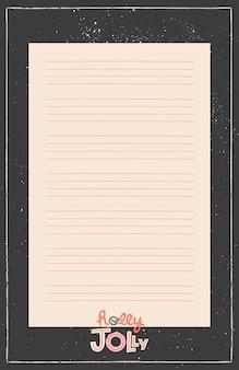 Planner, organizer do druku w czarnej ramce. ręcznie rysowane zimowe ozdobne notatki, lista rzeczy do zrobienia i do kupienia.