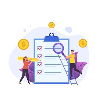 Planowanie Budżetu, Ludzie Sprawdzający Znaki I Badający Dokument Premium Wektorów