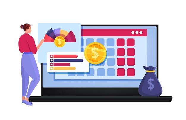 Planowanie budżetu osobistego lub kreskówka raport podatkowy online