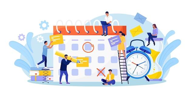 Planowanie harmonogramu. biznesmen sprawdzanie daty wydarzeń w ogromnym kalendarzu. efektywne zarządzanie czasem. osoby organizujące powiadomienia o wydarzeniach z życia, przypomnienia o notatkach, plany pracy. mężczyzna umawiający spotkania