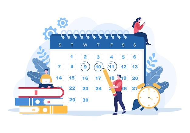 Planowanie harmonogramu lub zarządzania czasem z kalendarzem spotkania biznesowe, zajęcia i wydarzenia organizacja procesu pracy biura. ilustracja wektorowa tła