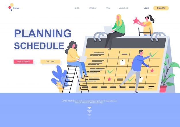 Planowanie harmonogramu płaski szablon strony docelowej. zespół biznesowy wspólnie planuje tydzień i miesiąc na podstawie kalendarza na dużym biurku. strona internetowa ze znakami osób. ilustracja zarządzania czasem.