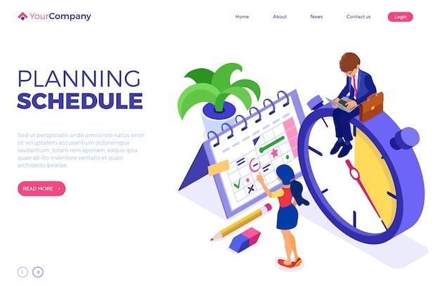 Planowanie harmonogramu zarządzanie czasem biznesmen planuje pracę z domu ze stoperem dziewczyna wybiera cele zgodnie z harmonogramem termin kalendarzowy czas izometryczny infografiki biznes na białym tle
