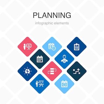 Planowanie infografika 10 opcji kolorów design.calendar, harmonogram, harmonogram, proste ikony planu działania