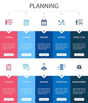Planowanie infografika 10 opcji projektowania interfejsu użytkownika. kalendarz, harmonogram, harmonogram, proste ikony planu działania
