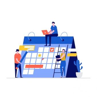 Planowanie koncepcji ilustracji harmonogramu z postaciami i kalendarzem.