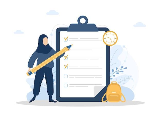 Planowanie miesiąca lub koncepcja listy zadań z gigantycznym ołówkiem stojącym w pobliżu listy kontrolnej