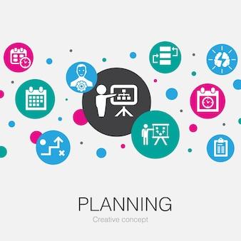 Planowanie modnego szablonu koła z prostymi ikonami. zawiera takie elementy jak kalendarz, harmonogram, harmonogram, plan działania
