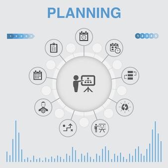 Planowanie plansza z ikonami. zawiera takie ikony jak kalendarz, harmonogram, harmonogram, plan działania